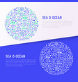 sea and ocean journey concept in circle vector image vector image