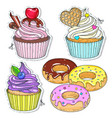 set candy cupcakes cakes vector image