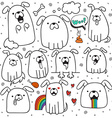 Set of 10 dogs doodle handmade Dogs with emotions vector image
