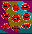 set of pop art icons with lips vector image