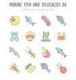 set retro icons marine fish and delicacies vector image