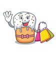 shopping easter cake character cartoon vector image vector image