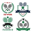 Tennis club logo with crossed rackets and balls vector image vector image