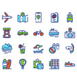 travel linear icons set vector image vector image