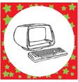 vintage retro computer vector image