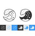 water wave simple splash black line icon vector image vector image