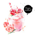 watercolor hand drawn rose frozen cocktail vector image
