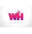 wh w h letter logo with pink purple color and vector image vector image