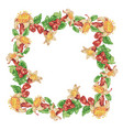 wreath frame with pomegranate flowers and vector image vector image