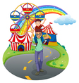 A boy and his father at the amusement park vector image