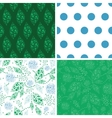 abstract blue and green leaves set of four vector image