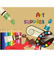 Art supplies for school or college vector image vector image