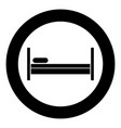 bed icon black color in circle or round vector image vector image
