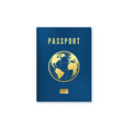 biometric blue passport cover template identity vector image