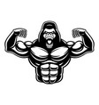 black and white of gorilla bodybuilder vector image vector image