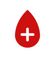 blood drop icon with plus vector image vector image