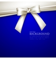 blue background with white bow vector image vector image