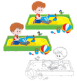 Boy plays in a sandbox vector image vector image