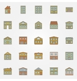 Buildings colorful icons vector image vector image