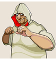 cartoon character fighter man in the hood vector image vector image