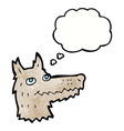 cartoon wolf head with thought bubble vector image