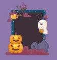 cat ghost pumpkins and gravestone frame halloween vector image
