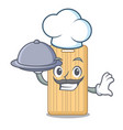 chef with food wooden cutting board mascot cartoon vector image