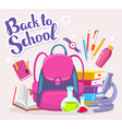 colorful of girl pink backpack with many sch vector image vector image