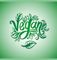 concept of vegan word green vector image
