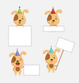 cute dog animal with blanks for text in cartoon st vector image vector image