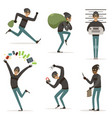 different actions scenes with cartoon bandit vector image vector image