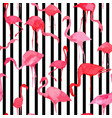 flamingo watercolor silhouette pattern black and vector image vector image
