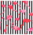 flamingo watercolor silhouette pattern black vector image vector image