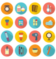 Flat Design Colorful Cosmetics Icons vector image vector image