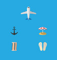 flat icon beach set of wiper beach sandals ship vector image vector image