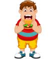 Funny fat man cartoon eating burger vector image