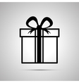 Gift simple black icon with shadow vector image vector image