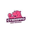 Gym hippo logo sport emblem
