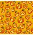 Haloween background carved pumpkin faces vector image