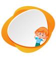 happy girl on orange banner vector image