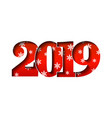 happy new year card red 3d number 2019 with vector image vector image