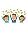 happy people catch money finance banking vector image