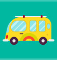 hippie bus isolated on green background graphic vector image vector image