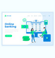 landing page template online banking concept with vector image