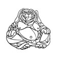 laughing dog buddha mosaic black and white vector image vector image