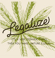 legalize marijuana weed cannabis green leaf retro vector image