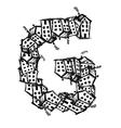 Letter G made from houses alphabet design vector image