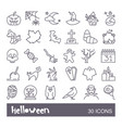 linear icons with traditional halloween symbols vector image