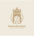 lineart female native american indian logo icon vector image