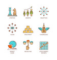 minimal lineart flat business iconset vector image
